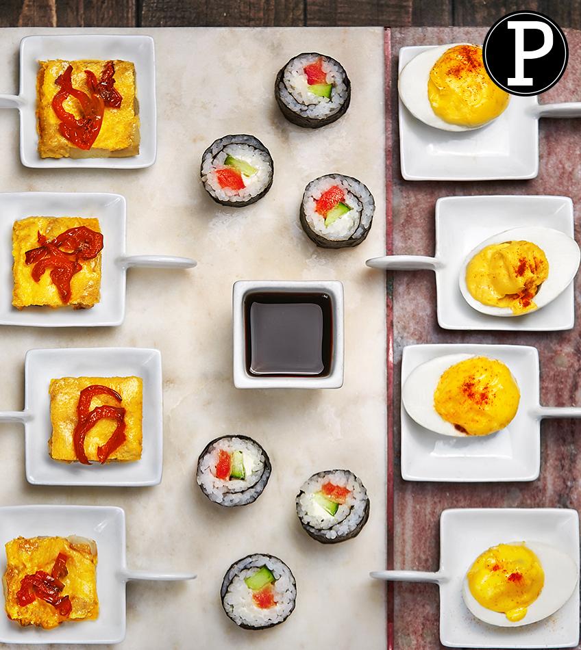 Tortilla Española + Sushi + Deviled Eggs